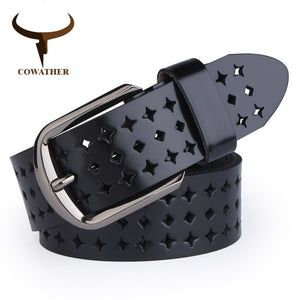 COWATHER 2018 new Women Cow Genuine leather belts hollow Korea fashion for women female pin buckle belt NQSK002 length 100-125CM