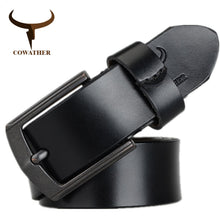 Load image into Gallery viewer, COWATHER 2018 cow genuine leather mens belt for men high quality vintage style 100-130cm male belt