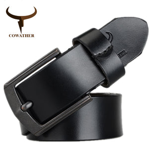 COWATHER 2018 cow genuine leather mens belt for men high quality vintage style 100-130cm male belt