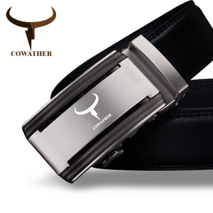 COWATHER 2018 new 100% cow genuine leather belts for men high quality alloy automatic buckle belt original