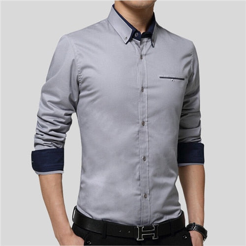 New Men Shirts Business Long Sleeve Turn-down Collar 100% Cotton Slim Fit
