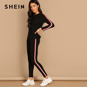SHEIN Streetwear Black Striped Tape Tee & Pants Long Sleeve Round Neck Set Women Two Pieces Sets 2019 Autumn Plain Twopiece