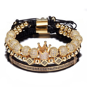 3pcs/Set Hip Hop Gold Crown Bracelets 8MM Cubic Micro Pave CZ Ball Charm Braided Braiding Man Luxury Jewelry