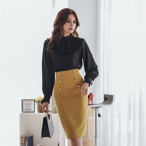 Office Ladies O-neck Patchwork Women Dress Elegant Ruffles Hip Package Female Dress 2019 Spring Workwear Women Vestidos