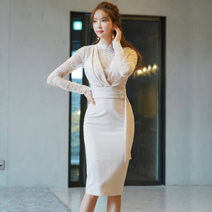 Elegant Lace Patchwork Stand Collar Pencil Dress Women 2019 Office Ladies Sheath Bodycon Female Dresses Slim Workwear Vestidos