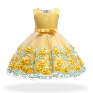 2019 Vintage Baby Girl Dress Summer Bead Champagne Dresses for Newborn 1-2 Year Birthday Party Wedding Princess Infant Clothes