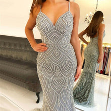 Load image into Gallery viewer, Newest Dubai Luxury Sexy Sleeveless Mermaid Evening Gowns 2019 Diamond Beading Gray Women Dresses Long Party Prom Dress OL103369