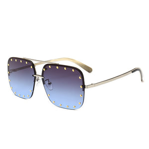 Rivet Sunglasses Women Luxury Square Rimless Sunglasses Female Gradient Eyewear UV400 xx781