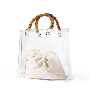 DIINOVIVO Fashion Transparent Bag Women Bamboo Top-handle Ladies Hand Bags Simple Designer Womens Handbags and Purses WHDV0969