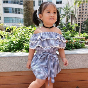 Newborn Infant Baby Girls Floral Off Shoulder Mini Dress Striped Printed Lace Floral Party Mini Dress Clothes