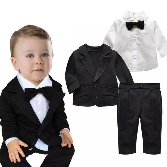 Baby boy gentleman suit newborn clothes set toddler infant outfits kid wedding festival birthday party costume coat+shirt+pants
