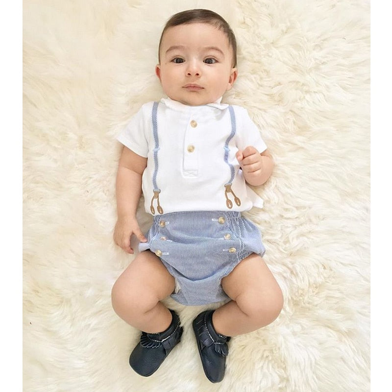 a0b989867cd09 Infant Baby Boys Short Sleeves 1ST First Birthday Party Gentleman Romper  Jumpsuit Newborn Clothes Size 4-24 Months