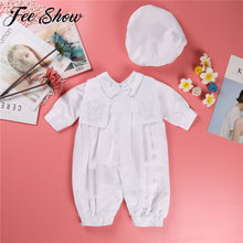 Load image into Gallery viewer, Baby Boys Christening Outfit Infant Boy Wedding Birthday Party Romper Vest Hat Formal Gentleman Suits Baptism Baby Boy Clothes