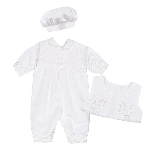 Baby Boys Christening Outfit Infant Boy Wedding Birthday Party Romper Vest Hat Formal Gentleman Suits Baptism Baby Boy Clothes