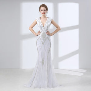 Luxury White Mermaid Prom Dresses Long 2019 Robe De Bal Beaded Crystal Evening Gowns Open Back Women Formal Party Dress