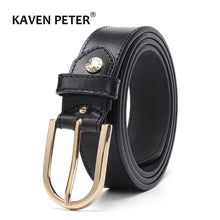 Load image into Gallery viewer, Luxury Women Genuine Leather Belt  Italian Leather For Women Pin Buckle Female Cowskin Black Belt 100% Leather High Quality