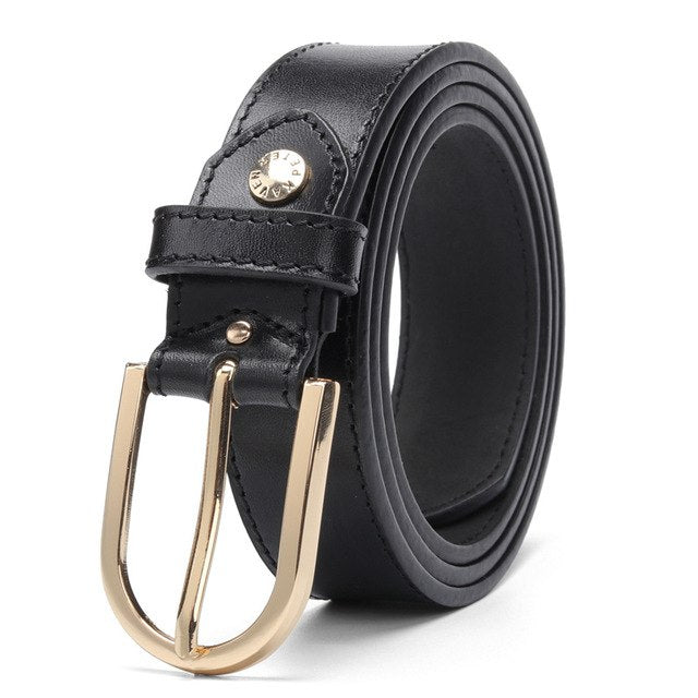 Luxury Women Genuine Leather Belt  Italian Leather For Women Pin Buckle Female Cowskin Black Belt 100% Leather High Quality