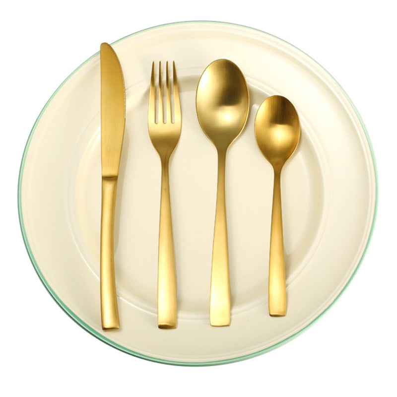 4pcs/set Dinnerware Set Stainless Steel Food Grade Gold Flatware Dinnerware Cutlery Tableware Set Dinner Fork+Knife+2xSpoon