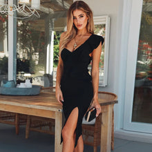 Load image into Gallery viewer, 2019 New Summer Women Bandage Dress Celebrity Evening Party Dresses Sexy One Shoulder Ruffles Bodycon Club Dress Vestidos