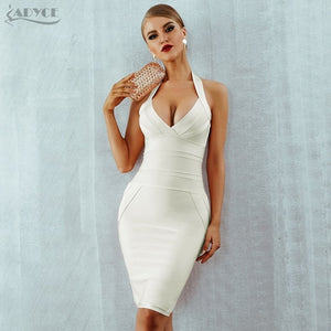 Summer Women Bandage Dress Vestidos Verano 2019 New Sexy Halter Backless Sleeveless Bodycon Clubwear Celebrity Party Dress