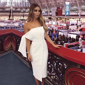 2019 New Arrival Summer Women Dress Casual One Shoulder Tied Button Elegant Tassels Celebrity Runway Party Dress