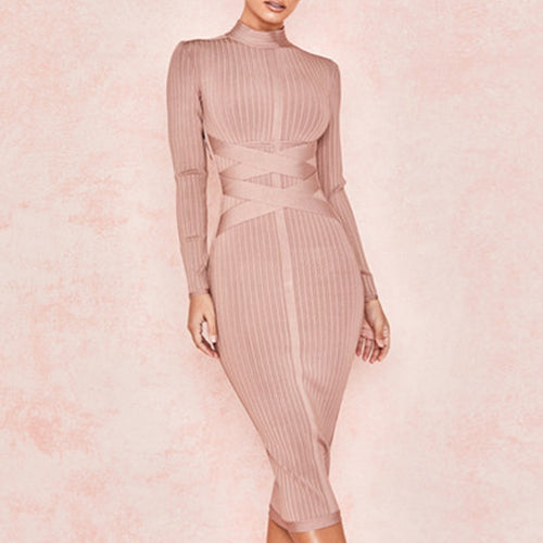 2019 New Spring Bodycon Bandage Dress Women Sexy Nude Long Sleeve Midi Club Dress Vestidos Celebrity Evening Party Dresses