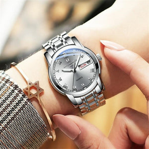 Waterproof Auto Date Silver Steel Mens Watch