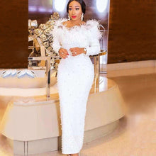 Load image into Gallery viewer, White Beaded Elegant Evening Tassel Bandage Long Sleeve Off The Shoulder Dress