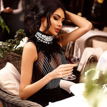 Load image into Gallery viewer, 2019 New Women Bandage Dress Sleeveless Black Feather Bead Club Dress Vestido Luxury Diamond Celebrity Evening Party Dress