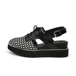Summer Slingbacks Women Platform Shoes Casual Genuine Leather Woman Creepers Sapato Feminino Creepers black white HL99 MUYISEXI