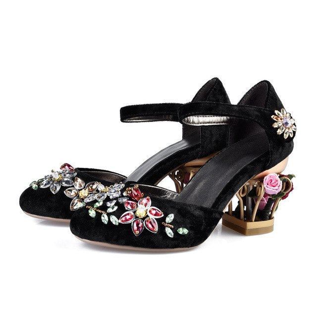 Mary Jane Shoes Woman Velvet with Crystal Flower Med Fretwork Heels Wedding Party Shoes for Women plus size MENG02 MUYISEXI