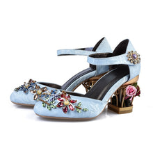 Load image into Gallery viewer, Mary Jane Shoes Woman Velvet with Crystal Flower Med Fretwork Heels Wedding Party Shoes for Women plus size MENG02 MUYISEXI