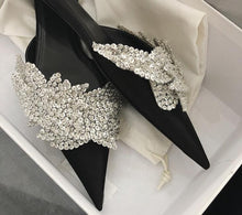 Load image into Gallery viewer, Runway satin Summer Slippers women Luxury Design bling bling crysatal Pointed Toe beach Shoes rhinestone unicornio mules ladies