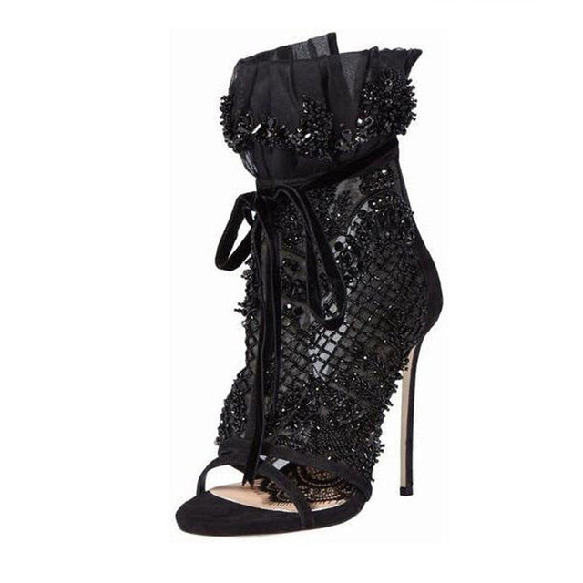 Sexy Mesh Set Crystal Wrap Heel Sandals Women Flower Pattern Lace-Up Decor High Quality Party Shoes Thin High Heels