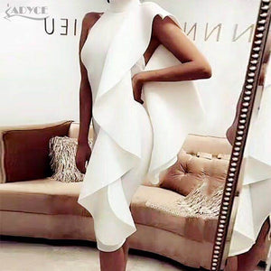 2019 New Summer White Women Celebrity Party Dress Sexy Wine Red Sleeveless Patchwork Ruffles Bodycon Club Dresses Vestidos