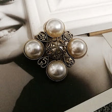 Load image into Gallery viewer, Camellia  Luxury Brand jewlery  style flowers Lapel Pins No 5 pearls Brooches flower Broche Broach Jewelry for Women