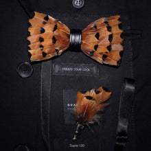 Load image into Gallery viewer, GUSLESON New Fashion Handmade Mens Feather and Leather Bow Tie Brooch Set Pre-tied Bowtie