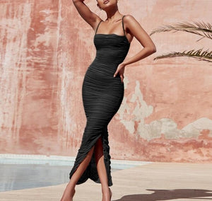 Women Long Club Elegant Bodycon Maxi Slit Strap Mesh Organza Dress