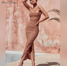 Load image into Gallery viewer, Women Long Club Elegant Bodycon Maxi Slit Strap Mesh Organza Dress