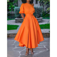 Load image into Gallery viewer, Casual Long One Shoulder High Waist Swing Day Dress