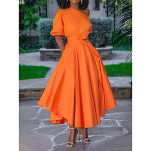 Casual Long One Shoulder High Waist Swing Day Dress