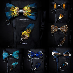 GUSLESON New Fashion Handmade Mens Feather and Leather Bow Tie Brooch Set Pre-tied Bowtie
