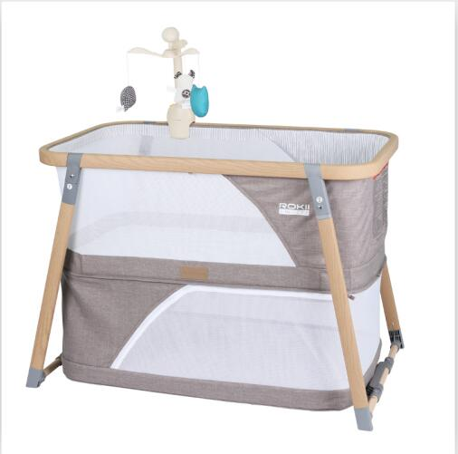 Luxury Steel Tube Folding Travel Baby Crib Nursery Center SGS Certified