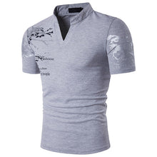 Load image into Gallery viewer, Men's European Style Printed Stand Collar Short-Sleeved Large Size  Available up to 2XL