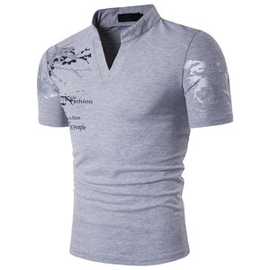 Men's European Style Printed Stand Collar Short-Sleeved Large Size  Available up to 2XL