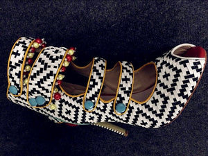Summer Peep Toe Multicolors Beadings  Ankle Boots
