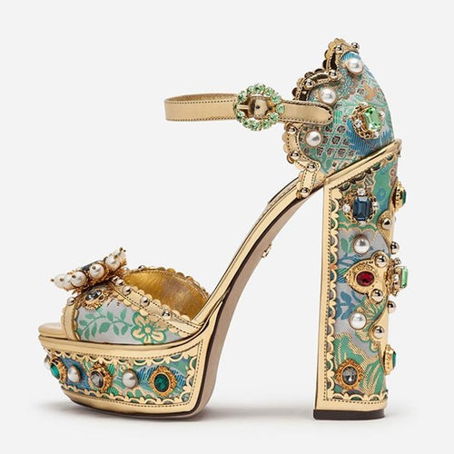Luxury Gems Pearls Flowers Platform Extremely High Chunky Heels Buckle Strap Embroidery Women's Banquet Shoes