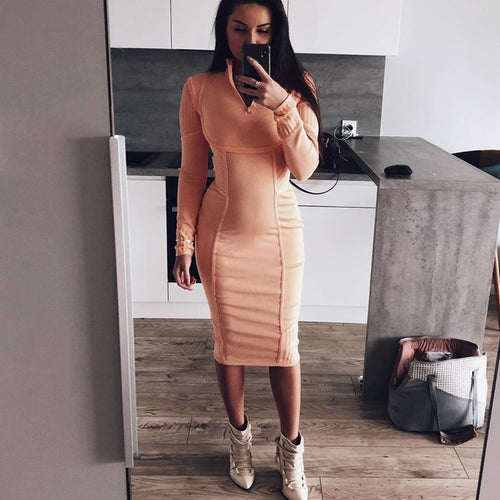 Bandage  Long Sleeve  Bodycon Dress