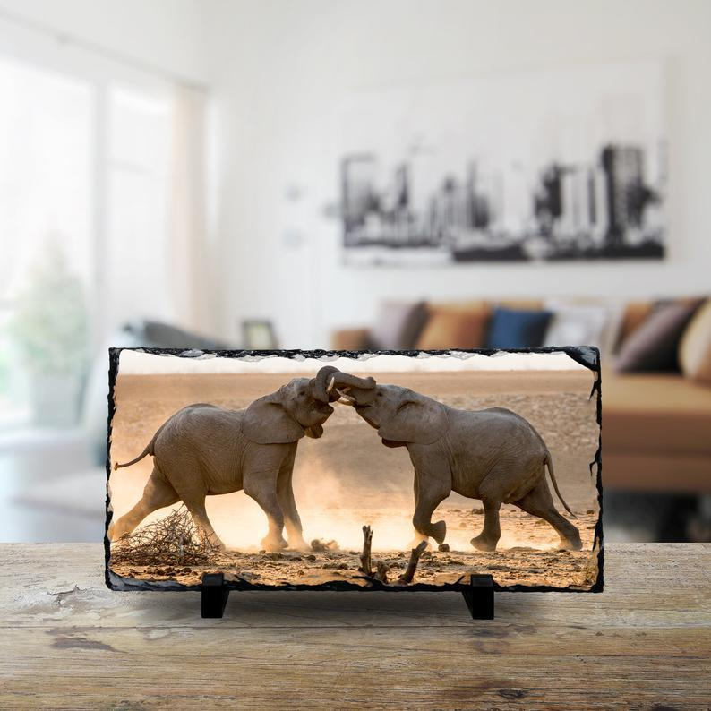 Wild Africa: Two Elephants Collide - Large Rock Slate cmzart 15 x 30 cm