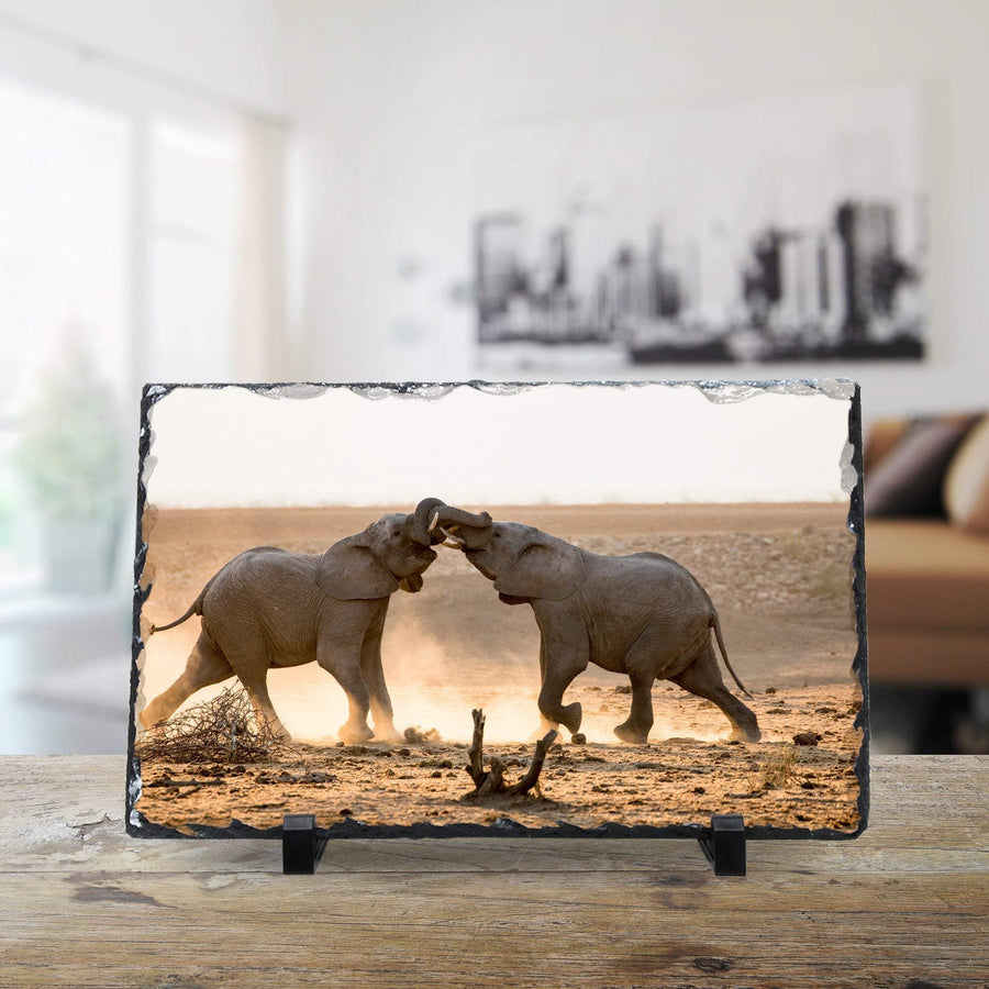 Wild Africa: Two Elephants Collide - Large Rock Slate cmzart 20 x 30 cm